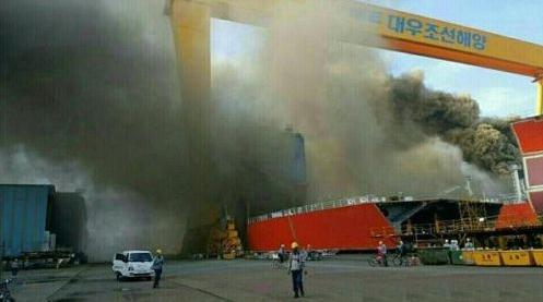 玉浦团囹�a�L_韩国玉浦船厂发生火灾致1死7伤